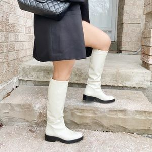 Zara Off-White Leather Boots